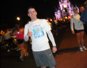 Running down mainstreet toward Cinderella's castle